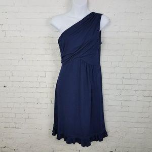 Gilli ModCloth Dress Navy Blue One Shoulder L